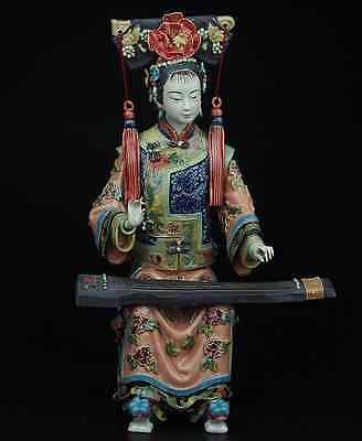 China Pottery Wucai Porcelain Display Woman Ladies Guzheng Art Decoration Statue
