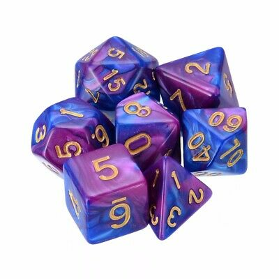 7pcs TRPG Game Dungeons & Dragons D4-D20 Multi Sided Dices Set Purple