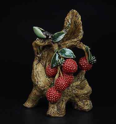 China Pottery Wucai Porcelain Home Fengshui Litchi Cicada Art Decoration Statue • CAD $270.55