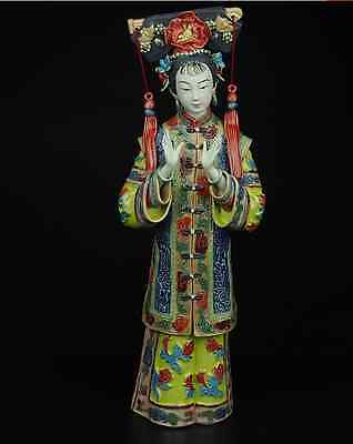 China Royal Pottery Wucai Porcelain Art Crafts Woman Ladies Decoration Statue AS