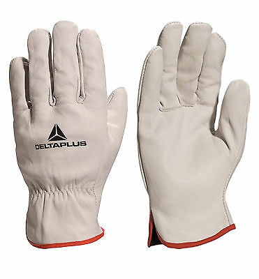 2 x Pairs Delta Plus FBN49 Drivers Safety Gloves Work Leather Cowhide Full Grain