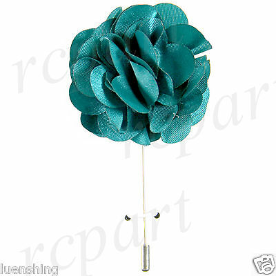 "New in box formal Men's Suit chest brooch turquoise solid 2"" flower lapel pin"