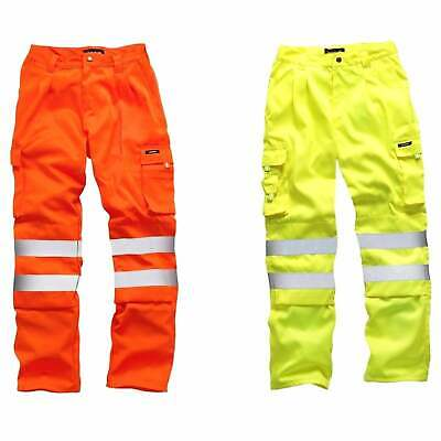 STANDSAFE HI VIS VIZ Polycotton Work Trousers Combats Highways Railway GO/RT
