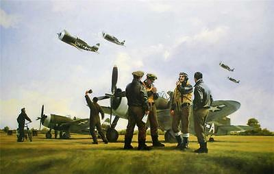 Ww2 Us Top Ace Gabreski Signed Aviation Art P47 Thunderbolt Usaaf