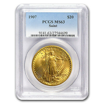 1907 $20 St. Gaudens Gold Double Eagle Coin - MS-63 PCGS - SKU #1559
