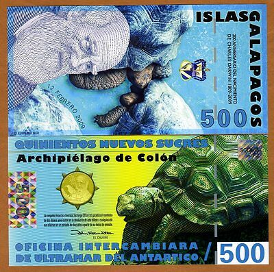 Galapagos Islands, 500 Sucres, 2009, UNC   Darwin Commemorative