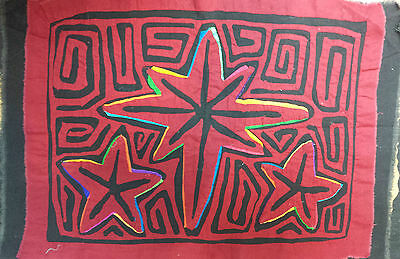 South American Handcrafted Mola Embroidery 1970'S 40 X 30Cm