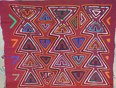 South American Handcrafted Mola Embroidery 1970'S 43 X 53Cm
