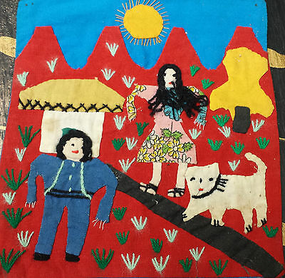 Vintage South American Handcrafted Applique Embroidery Arpillera