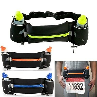 Sport Running Belt Fanny Pack Bag Pouch with Bottles For Jogging Hiking Travel