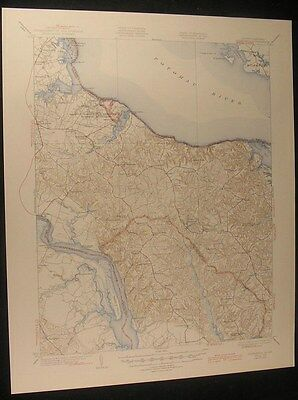 Wakefield Virginia Potomac River 1945 vintage USGS original Topo chart map