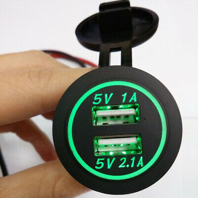 Car Motorcycle Dual USB Socket Charger Power Adapter Outlet ipad Phone 5V Green