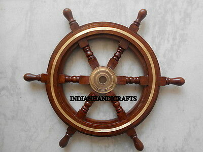 Vintage Style Brass & Wood Ship Wheel Helm Nautical Decor Steering Boat Bar