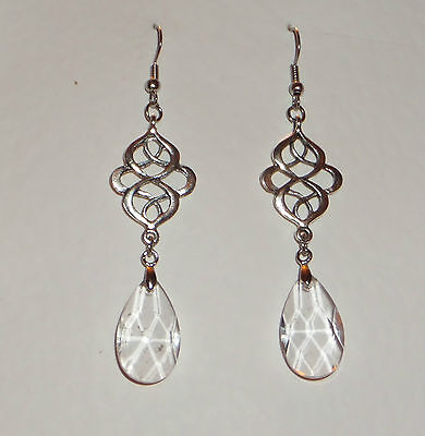 Victorian Style Persian Design Clear Faceted Glass Silver Plated Earrings