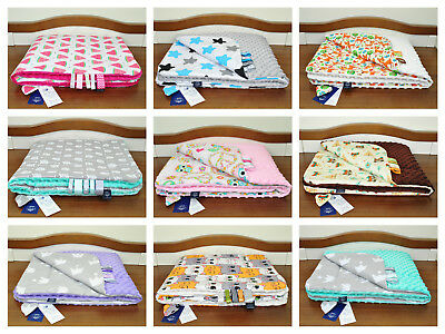 Minky/cotton blanket/ soft/ reversible/for crib, cot, pram/play mat/handmade