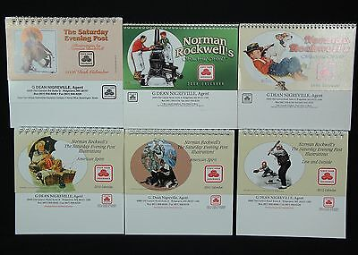 Norman Rockwell Mixed Lot Calendars - 6 Mini Desktop Calendars