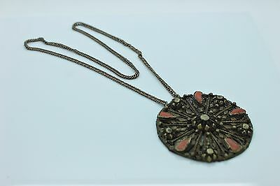 Antique Original Islamic Silver And Brass Mixed Coral Decorated Amazing Pendant