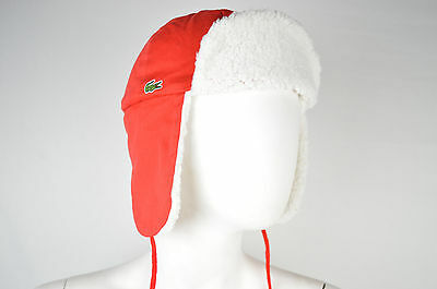 Sale Brand New Authentic Lacoste 1927 Red Color Cotton Aviator Hat Size Medium