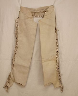 FRINGED PREMIUM SUEDE LEATHER Equitation Horse Show Chaps Sand Adult Large