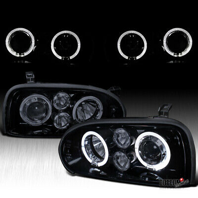 Glossy Piano Black For 1993-1998 VW Golf MK3 Cabrio Halo Projector Headlights