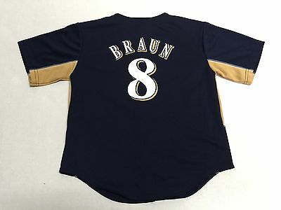Milwaukee Brewers Authentic MLB Majestic Youth Kids Braun 8 Stitched Jersey