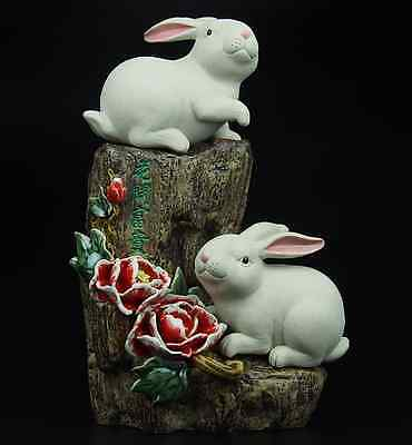 China Pottery Wucai Porcelain Art Decoration Rabbit Hare Peony Statue AS182