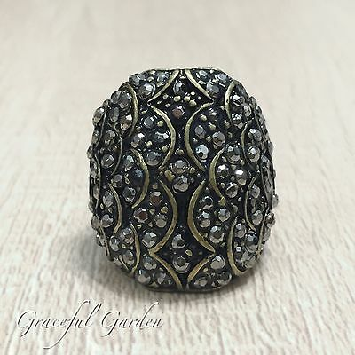 CR2136 Graceful Garden Vintage Style Bronze Tone Grey Rhinestone Paved Ring 6