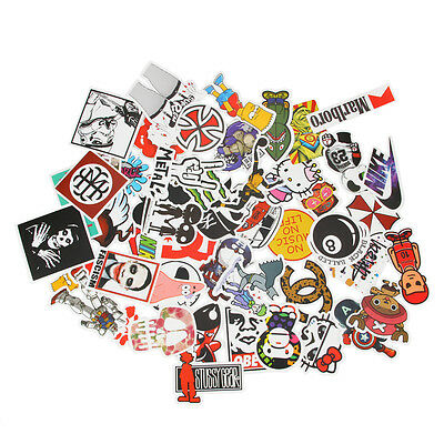100pcs Random Vinyl Skateboard Guitar Travel Case sticker Aufkleber Abziehbil