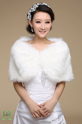 New White Faux Fur Wrap Bridal Bolero Warm Shawl Women's Shrug Stole Jacket UK