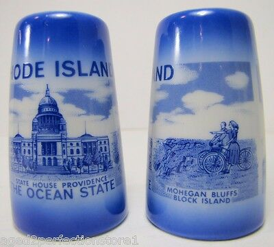 Antique Rhode Island 'The Ocean State' Souvenir Salt Pepper Shakers porcelain