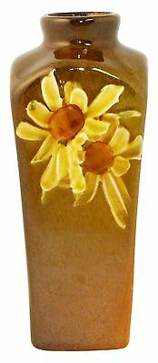 Owens Pottery Utopian Yellow Daisy Square Vase 112 (Fouts)