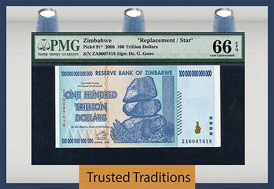 Tt Pk 91* 2008 Zimbabwe 100 Trillion Replacement Star Very Rare Pmg 66 Epq