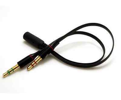 3.5mm Female to 2Male Y Splitter Aux Audio Cable Earphone Headphone Mic Jack Yun