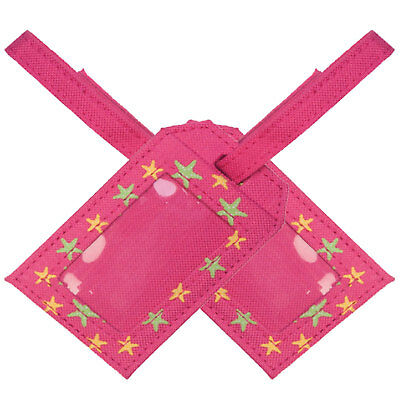 Luggage tags in Pink Star fabric