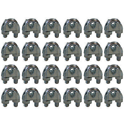 West Coast Wire Rope CPML018 Galvanized Steel 1/8-inch Cable Clamp Clip, 24-Pack