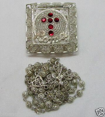 † Scarce Antique Solid 800 Sterling Silver Filigree Beads Rosary & Case Box †