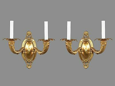 Brass Gold Dore Finish Sconces c1930 Vintage Antique Ornate French Style