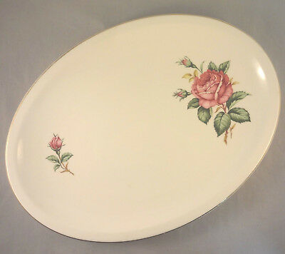 "RED ROSE by PADEN CITY 11 1/2"" OVAL SERVING PLATTER Roses & Buds on Cream"