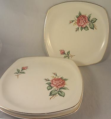 RED ROSE by PADEN CITY Square SALAD or DESSERT PLATES (Set of 4) Roses & Buds