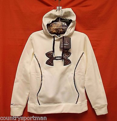 UNDER ARMOUR Storm Caliber Big Logo Hoodie Women (L) #1247106-130 Ivry/RTX/OxBld