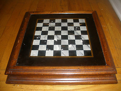 Antique primitive 19thc  reverse painted chess game wood board