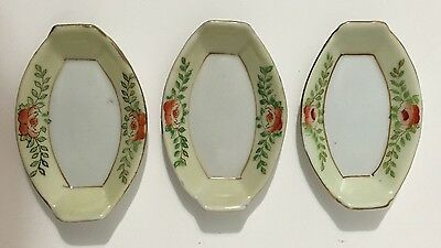 Set of 3 Beautiful Vintage Small Oriental Art Deco Bowls Signed EUC!