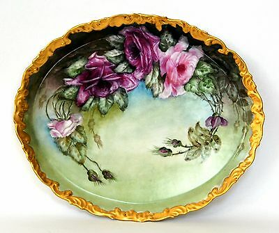 "Limoges  France 16"" Large Hand Painted Roses Platter Tray"