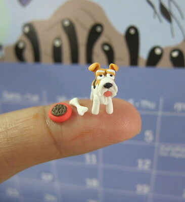 Adorable Fox Terrier dogs puppy miniature Tiny Handmade Collectible figurine