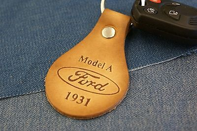 Vintage Ford Model A Coupe Sedan 1931 Genuine Tanned Leather Keychain Fob