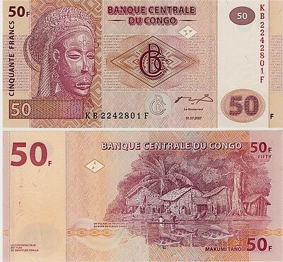 Congo   50 Francs    2007   P-new    Unc  Banknote   Africa