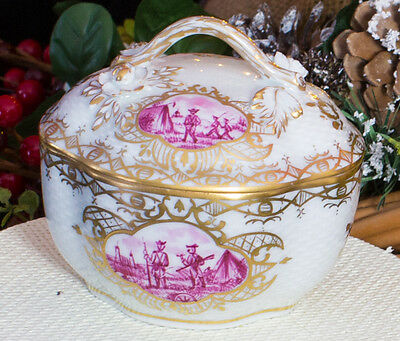"""""""The Encampment"""" Lovely Dresden Porcelain Jar with Lid with Military Scenes"""