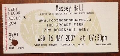 THE ARCADE FIRE-Concert Ticket Stub-Toronto-Massey Hall-May 16, 2007-Neon Bible2