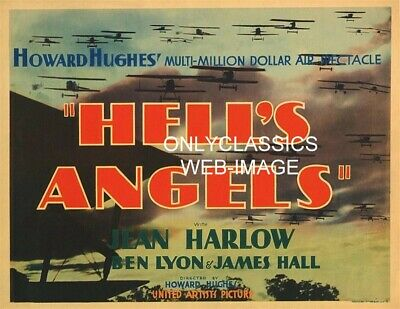 1930 Howard Hughes Hell's Angels Movie Poster Pilot Biplane Airplane Aviation