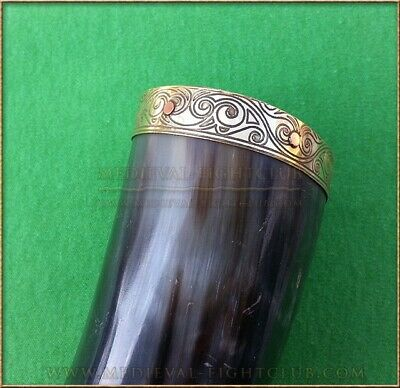 Drinking Horn brass tribal pattern Medieval Historical reenactment feasting